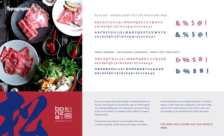 Bonzai Typography - Restaurant Branding