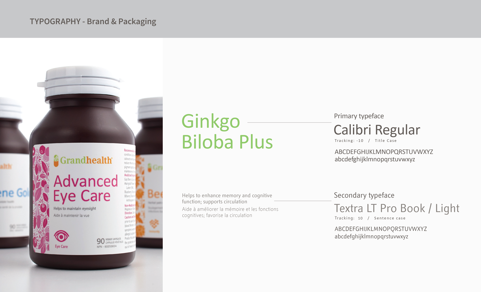 Grandhealth Packaging Typography