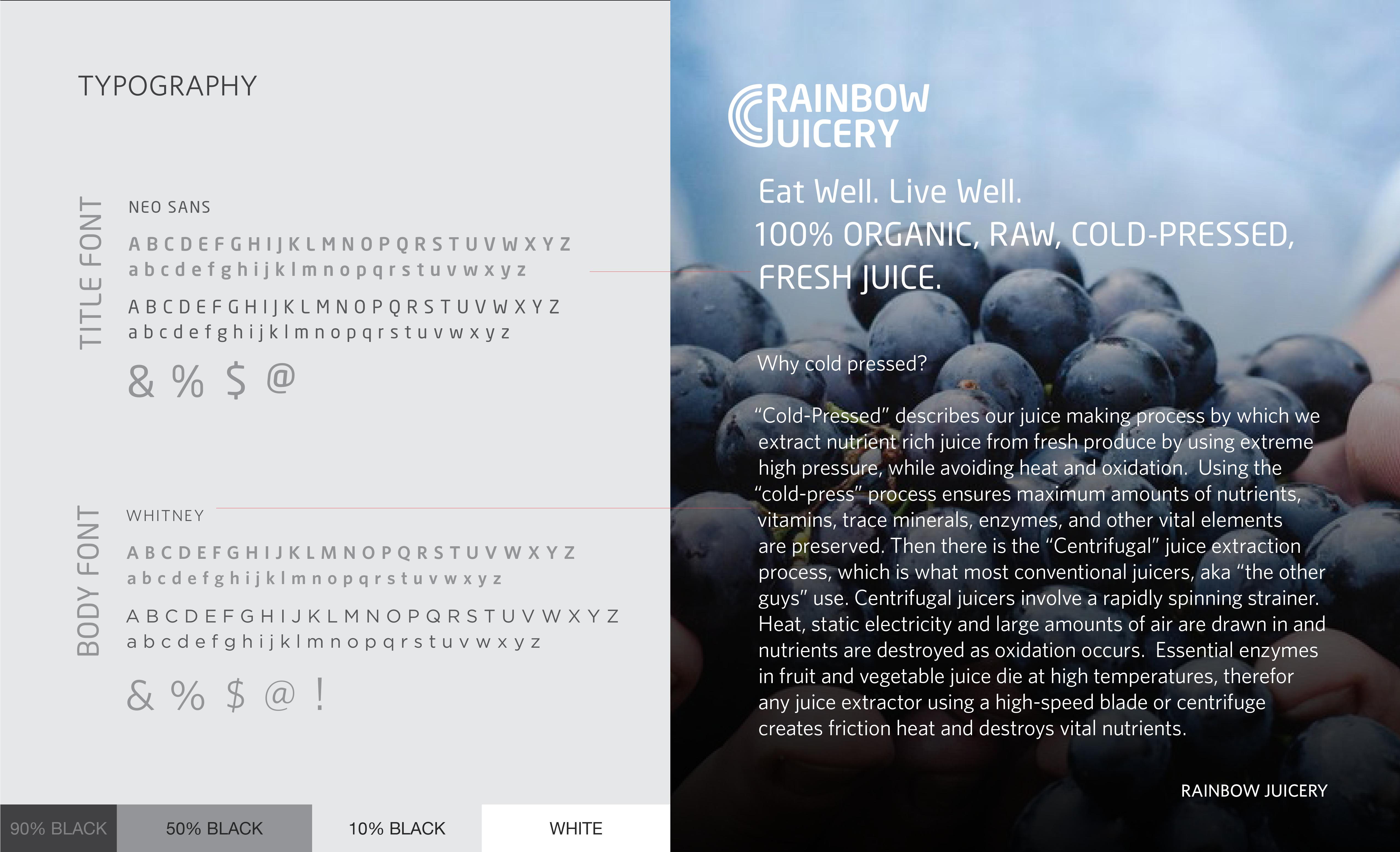 Rainbow Juicery Typography