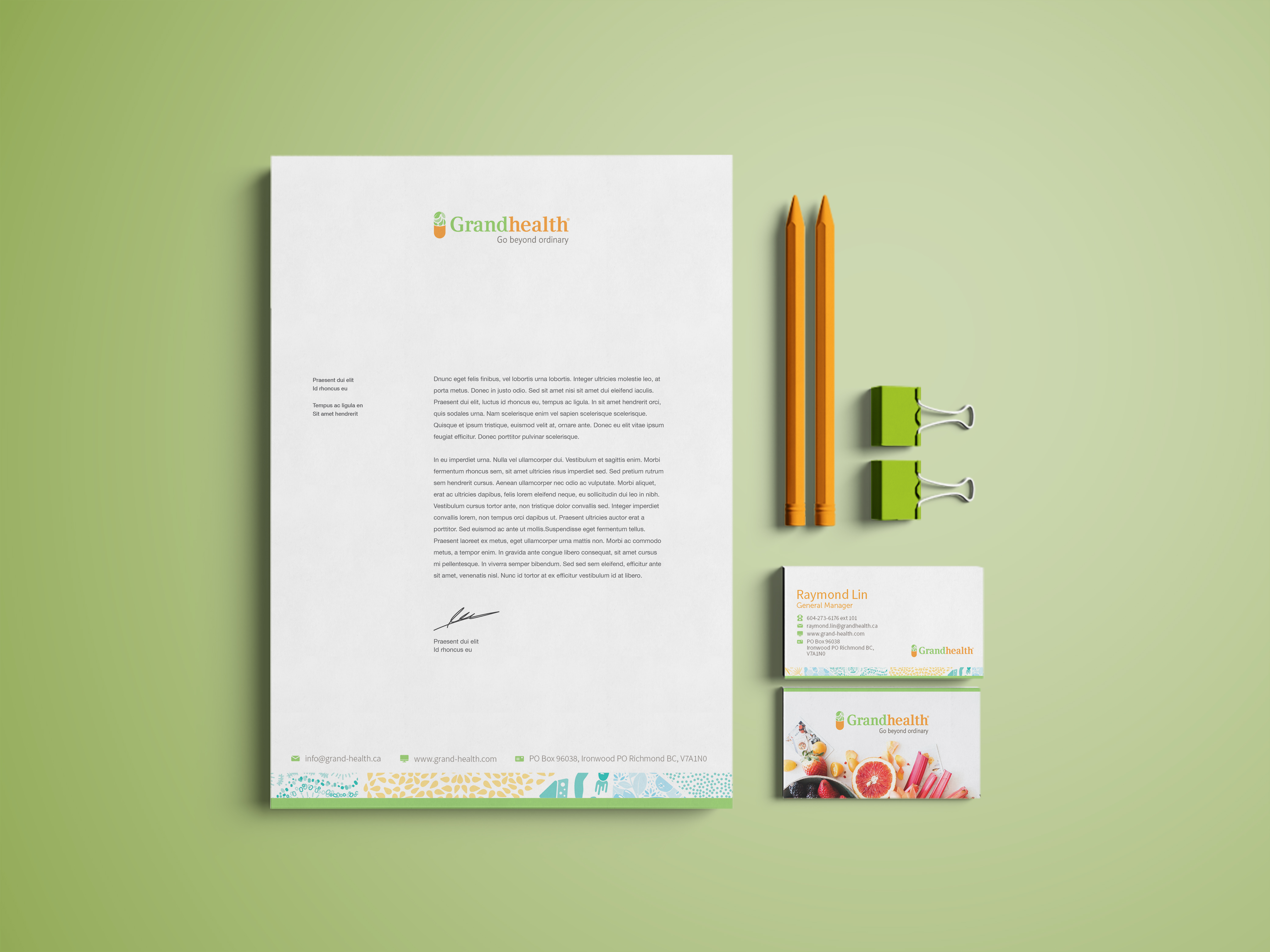 Grandhealth Stationery Design with Business Cards & Letterhead Designs