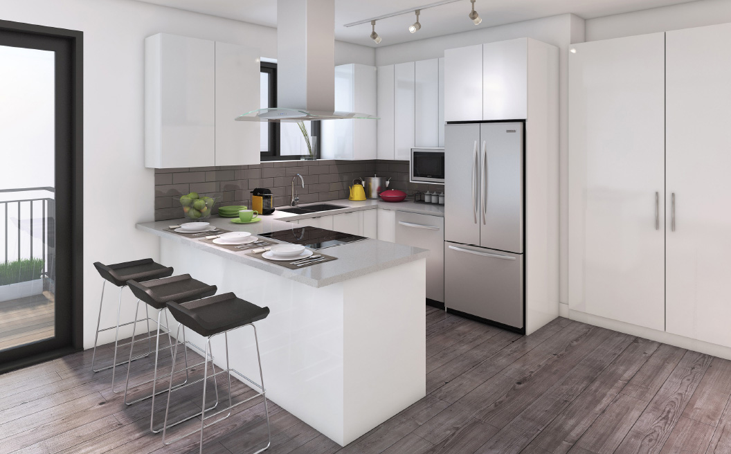 3D RENDERING of White Kitchen