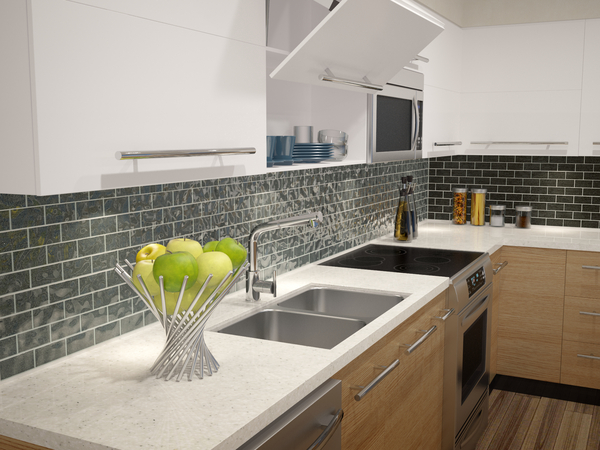 3D RENDERING of Modern Kitchen with Fruit Bowl