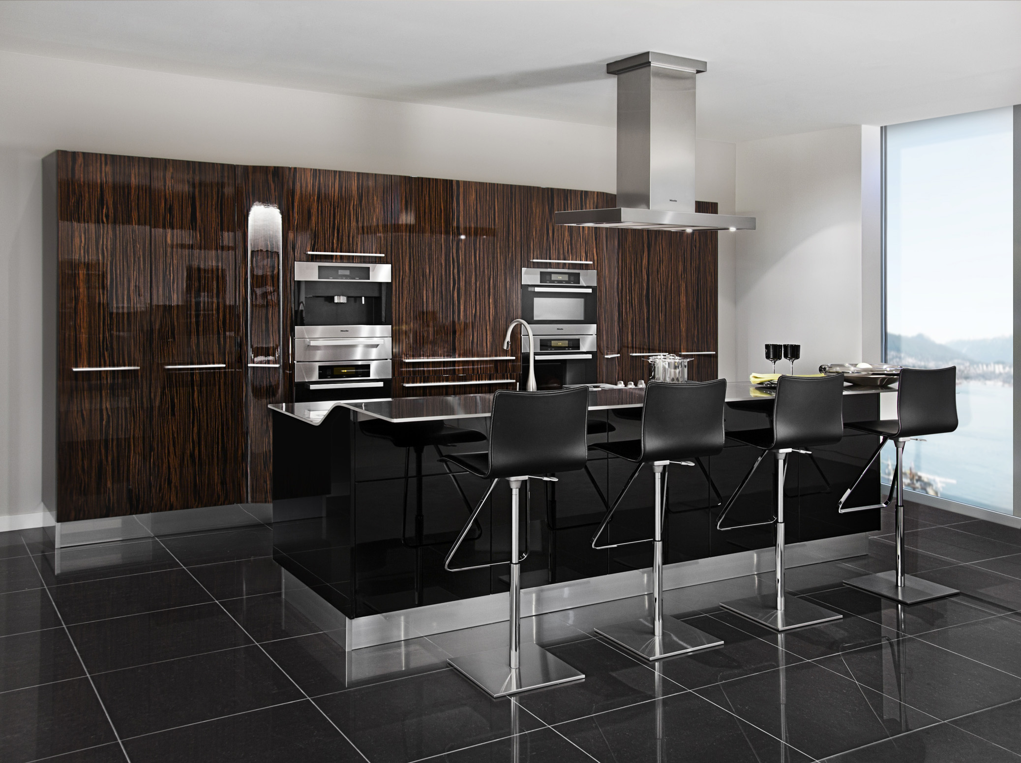 3D RENDERING of Modern Kitchen with Kitchen Island with Bar Stools
