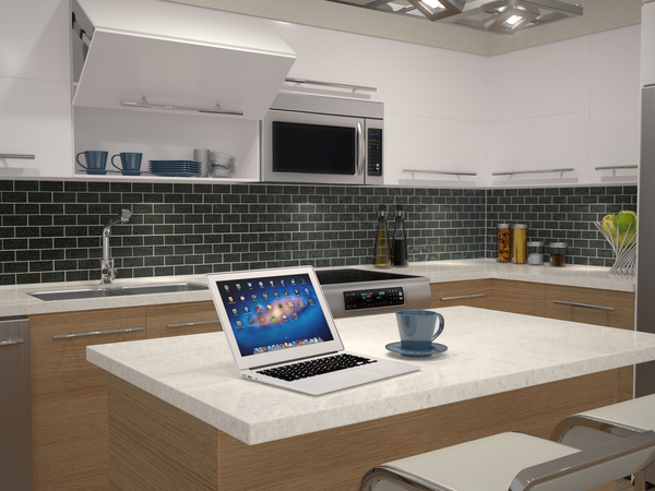3D RENDERING with Modern Kitchen with MacBook on Kitchen Island