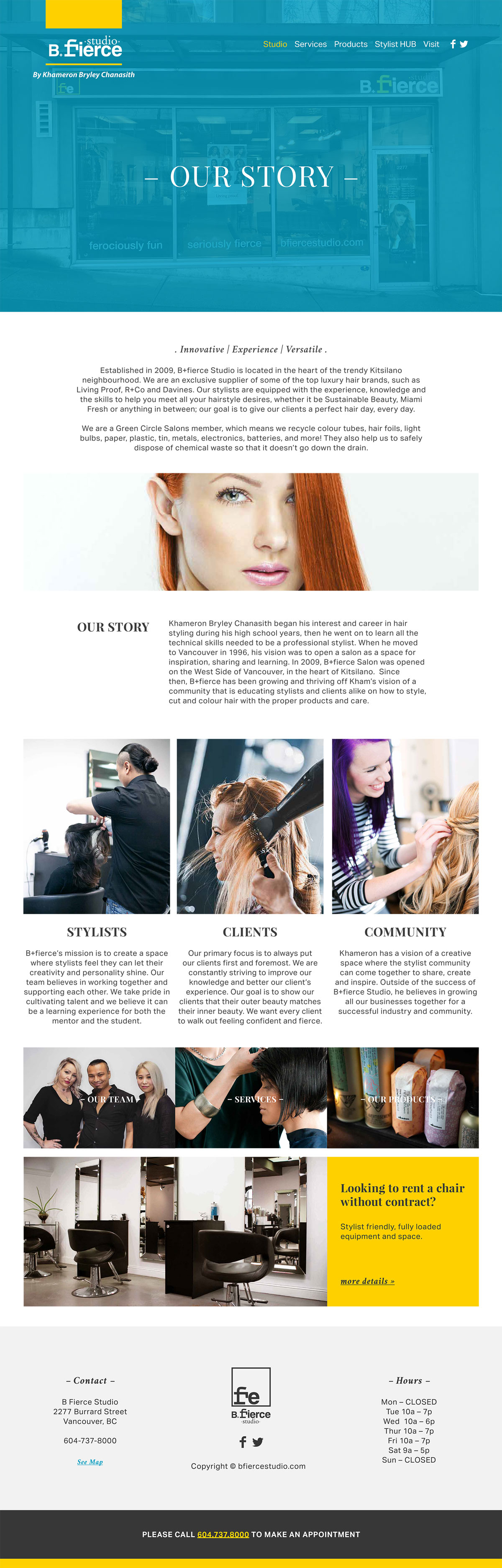B Fierce - Our Story Website Design