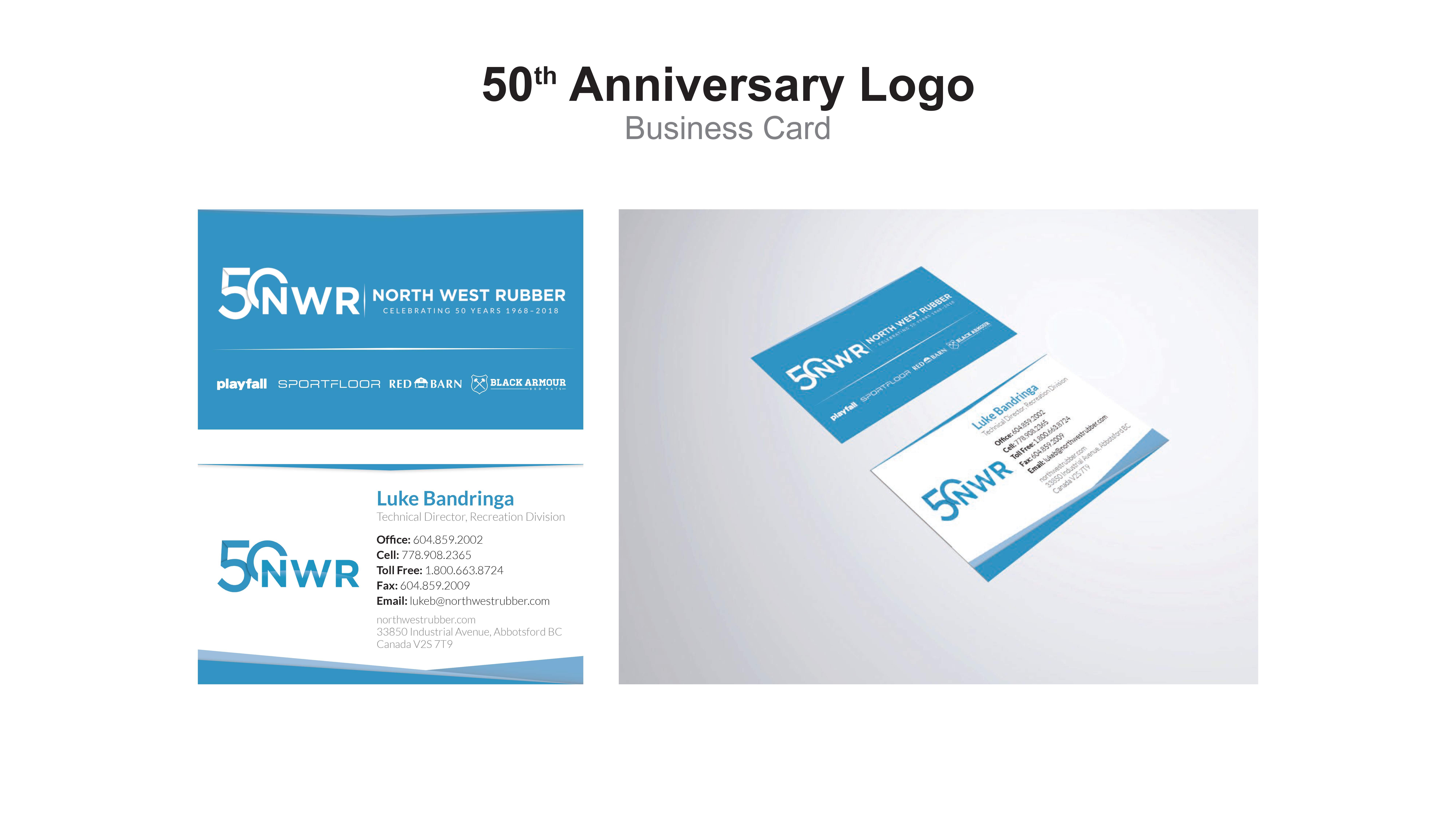 North West Rubber - 50 years business card design