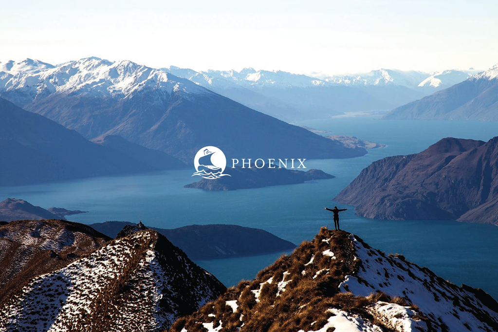 Phoenix - branded photography with someone standing on a mountain facing the water