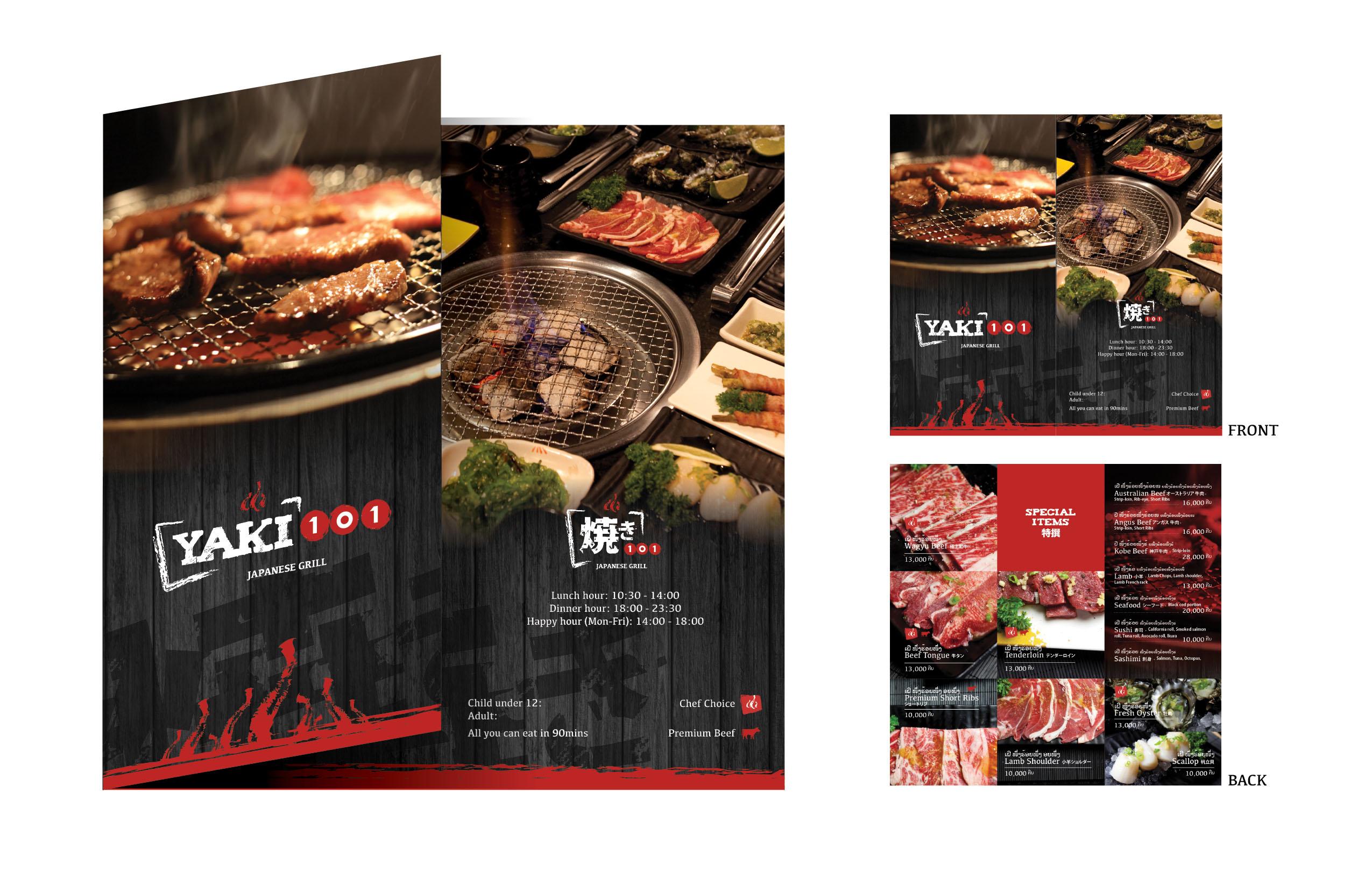 Yaki 101 - menu graphic design