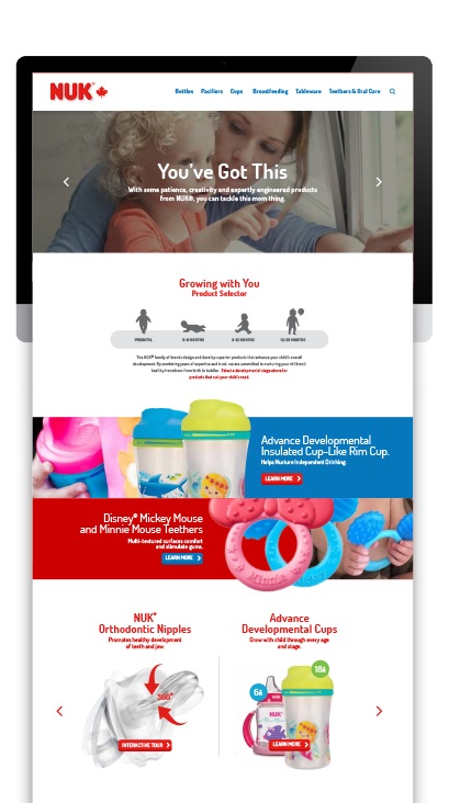 Nuk - Tablet Website Design